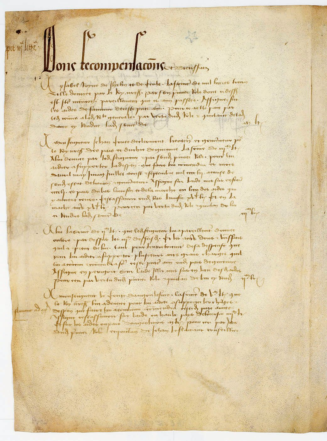 Pre-trial investigation rehabilitation of Jeanne d Arc. Parchment, 1452.