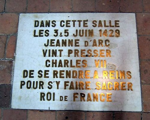 Plate Commemorating Jeanne d'Arc inside Castle of Loches