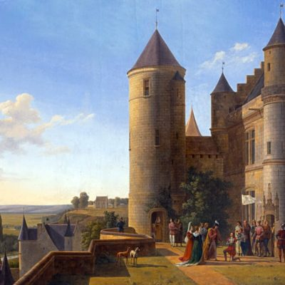 Alexandre Louis Robert. ( View of the Chateau de Loches and Agnes Sorel turn, location unknown 1819) and, like the Museum Tours pretext to evoke a historical anecdote. If the table of 1814 recalls the loves of Charles VII and Agnes Sorel, the 1819 calls a female figure emblematic of the place, that of Joan of Arc, however does not appear in the main title but in the subtitle Catalogue of the Exhibition of 1819.