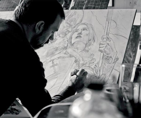 Jeanne d'Arc painting in progress by artist and illustrator Donato Giancola